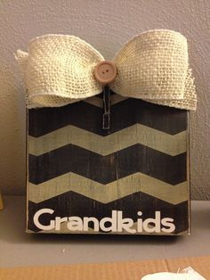 "Black/Khaki Chevron Distressed Painted Wood Block Frame with Burlap Bow & Vinyl ""Grandkids"" on Etsy, $15.00"