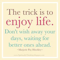 The trick is to enjoy life. Don't wish away your days waiting for better ones ahead. ~Marjorie Pay Hinckley