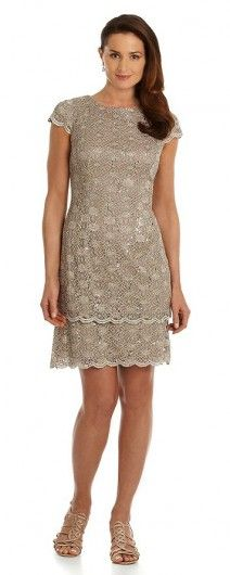 Alex Evenings Sequined Lace Tiered-Skirt Dress