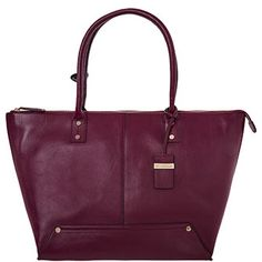 Large Purple Leather Tote Bag