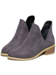 Grey Chunky Heel Round Toe Casual Boots 36.05