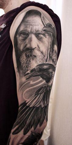 Odin-Hugin-Munin - Odin-Hugin-Munin You are in the right place about Odin-Hugin-Munin Tattoo Design And Style Galleries - Viking Tattoo Sleeve, Tribal Sleeve Tattoos, Sleeve Tattoos For Women, Tattoo Sleeve Designs, Norse Mythology Tattoo, Norse Tattoo, Hugin Munin Tattoo, Rabe Tattoo, Hirsch Tattoo