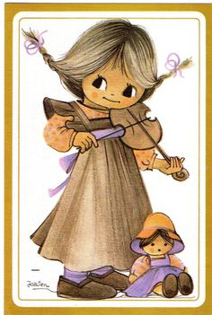 """Jaklien Moerman, postcard illustration.  I love Jaklien Moerman.  I need to scan some """"Princess Penelope"""". ^_^  In the meantime, this girl is darling, and I love her little open-mouthed doll."""