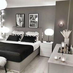 Grey Bedroom Decor, Room Design Bedroom, Stylish Bedroom, Small Room Bedroom, Room Ideas Bedroom, Home Room Design, Home Bedroom, Silver Bedroom, Teen Bedroom