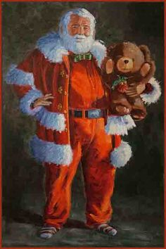 franz Brown/John Falstaff Santa Love the teddy bear. Father Christmas, Santa Christmas, Vintage Christmas, Santa Pictures, Christmas Paper Crafts, Santa Claus Is Coming To Town, Old Fashioned Christmas, Santa Baby, Vintage Santas