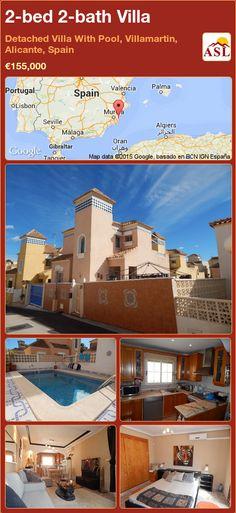2-bed 2-bath Villa in Detached Villa With Pool, Villamartin, Alicante, Spain ►€155,000 #PropertyForSaleInSpain