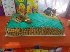 Sand is graham cracker crumbs. Moana Themed Party, Moana Birthday Party, Moana Party, 3rd Birthday Parties, Birthday Ideas, Birthday Sheet Cakes, Birthday Cake Girls, Unicorn Birthday, Princess Party