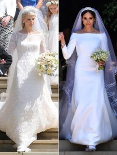 Lady Gabriella Windsor stunned on her wedding day — just like Meghan Markle did exactly one year ago Royal Wedding Gowns, Second Wedding Dresses, Royal Weddings, Bridal Dresses, Lady Diana, Blush Gown, Meghan Markle Style, Fringe Fashion, Royal Brides