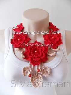 Silvia Gramani Crochê: Colar Belle Fleur