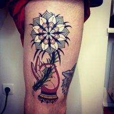 flower mandala by aivaras lee #leg #thigh #tattoos