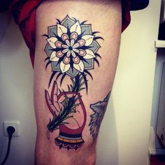 flower mandala by aivaras lee #leg #thigh #tattoos