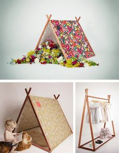 Good idea to recycle into a clothing rack with shorter bottom pieces Diy For Kids, Crafts For Kids, Diy Crafts, Kids Tents, Play Tents, Slumber Parties, Baby Kind, Kids Furniture, Kids Playing