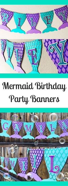 ideas birthday party decorations kids banners for 2019 Mermaid Theme Birthday, Little Mermaid Birthday, Mermaid Party Decorations, Birthday Party Decorations, Party Fiesta, 6th Birthday Parties, 4th Birthday, Party Banners, Birthday Banners
