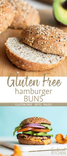 Gluten Free Hamburger Buns (Keto, Paleo) Gluten Free Hamburger Buns / This healthy gluten free bread recipe is so easy! Minimal ingredients, and a light and soft texture! Great keto bread, paleo bread, perfect for many diets. Healthy Gluten Free Bread Recipe, Gluten Free Buns, Best Keto Bread, Gluten Free Recipes, Gluten Free Hamburger Buns, Hamburger Bun Recipe, Healthy Hamburger, Comida Keto, Bread Alternatives