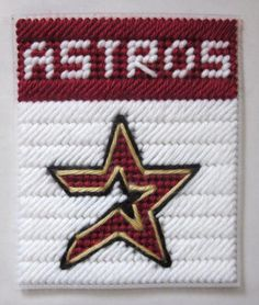 Plastic Canvas gift Box Patterns | Houston Astros tissue box cover in plastic canvas PATTERN ONLY Sorry no pattern available, this is for inspiration only