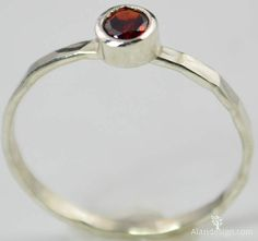 Small Garnet Ring, Mothers Ring, Hammered Silver, Stackable Rings, Mother's Ring, January Birthstone Ring, Skinny Ring, Birthday Ring