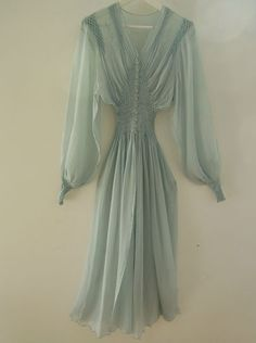 1940's Vintage Babydoll Blue Crepe Dressing Gown with smocking.