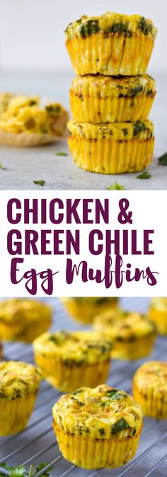 Easy, healthy and filling Chicken and Green Chile Egg Muffins - ready in only 30 minutes, this on-the-go breakfast is gluten free, low carb and paleo friendly. (Low Carb Breakfast On The Go) Breakfast On The Go, Low Carb Breakfast, Healthy Breakfast Recipes, Best Breakfast, Brunch Recipes, Breakfast Ideas, Breakfast Biscuits, Egg Recipes, Mexican Food Recipes