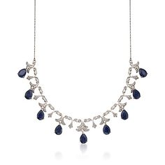 "20.00 ct. t.w. Sapphire and .28 ct. t.w. Diamond Necklace in Sterling Silver. 18""  Daily Deal for $195!  Gorgeous!"