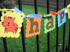 Jungle/Zoo/Safari Tiger  Happy Birthday Banner by 62Cards on Etsy, $29.95 Happy Birthday Banners, 3rd Birthday, Birthday Ideas, Birthday Parties, Blue Green, Yellow, Masons, Cricut Ideas, First Birthdays
