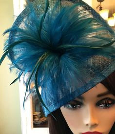 Teal Fascinator Womens Tea Party Hat Church Hat by QueenSugarBee British Hats, Tea Party Hats, Cocktail Hat, Church Hats, Fancy Hats, Green Hats, Derby Hats, Our Girl, Teal Green