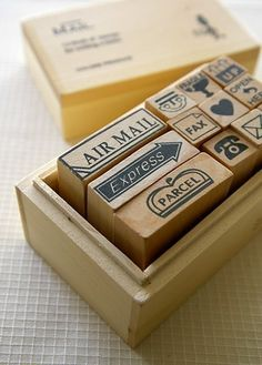 Wooden boxed Mail Rubber Stamps by karaku on Etsy, ¥1400