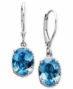 14k White Gold Earrings, Blue Topaz Oval Drop (4-1/3 ct. t.w.)