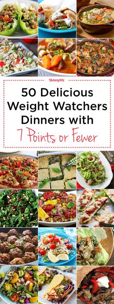 Watchers Dinners with 7 SmartPoints or Less Try these 50 Delicious Weight Watchers Dinners with 7 Points or Fewer!Try these 50 Delicious Weight Watchers Dinners with 7 Points or Fewer! Weight Watcher Dinners, Plats Weight Watchers, Weight Watchers Smart Points, Weight Watchers Diet, Weight Watchers Freezer Meals, Wieght Watchers, Skinny Recipes, Ww Recipes, Recipies
