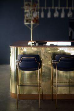deco tendance métallique - bar doré #luxuryrestaurant