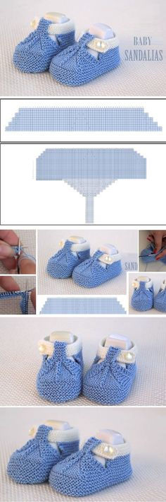 Baby Sandals – Knitting patterns, knitting designs, knitting for beginners. Baby Knitting Patterns, Baby Booties Knitting Pattern, Booties Crochet, Baby Hats Knitting, Crochet Baby Shoes, Knit Baby Dress, Knitted Baby Blankets, Crochet Baby Booties, Baby Cardigan