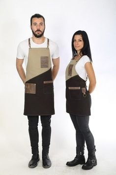 """Bar apron, elegant premium quality leather & cotton, with accessories pockets, """"Beige / Dark Brown and Sand Brown"""" - LOSTRIS ALPHA Cafe Uniform, Restaurant Uniforms, Restaurant Aprons, Leather Suspenders, Apron Designs, Business Checks, Leather Fabric, Barista, Perfect Match"""