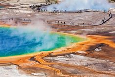 The striking rainbow coloration of Yellowstone National Park's Grand Prismatic Spring