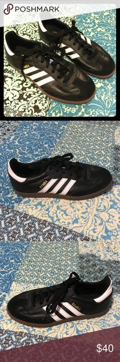 Like-New Unisex Adidas Sambas Comfortable soccer shoes/everyday sneakers! Worn twice, mint condition. Size men's 5; women's 6.5 or 7. There's a tiny bit of scuffing on the sides of the tongues (NOT on a visible part of the shoe)— I made these scuffs intentionally w/ low-grit sandpaper when I first got the shoes to stop the tongues from rubbing against the shoe when I walked + making a squeaky sound (a common issue with the short-tongue Sambas)! 🙂 adidas Shoes Sneakers