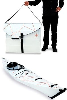 Origami Kayak: Packs Flat, Folds Up to Form its Own Case. The Product is the packaging.