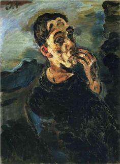 Self-Portrait with Hand by his face., 1919 by Oskar Kokoschka. self-portrait Gustav Klimt, Henri Matisse, Max Oppenheimer, Hands On Face, Maurice De Vlaminck, Chaim Soutine, George Grosz, Max Beckmann, Expressionist Artists