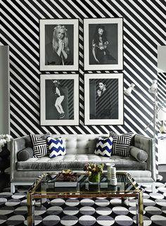 salon de couleur blanc noir papier peint noir et blanc