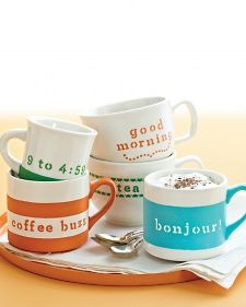 How-To Painted Personalized Mugs a la Martha | could be fun at xmas [think cocoa tins / fresh beans in bags / homemade tea satchels & mug sets]