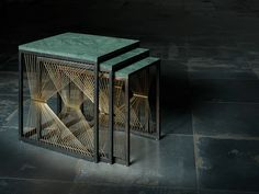 nest of tables, green marble, metal tables, brass tables, new design, Aegis 001, Aegis, ziad alonaizy