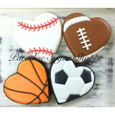 Baseball basketball football soccer heart decorated cookies sports by Paradise Sugar Shoppe