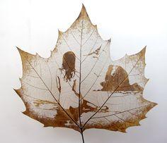 human-body art--leaf carving--leaf art--carving craft--carving art