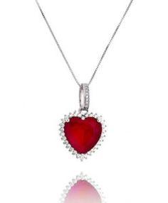 colar rubi em formato de coração e banho de rodio semi joias de luxo