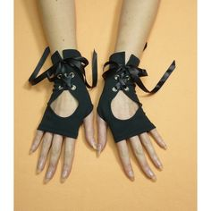 Black Gothic Gloves with Corset Closure, Jersey Armwarmers, Cyber... ($24) ❤ liked on Polyvore featuring accessories, gloves, gothic fingerless gloves, satin gloves, gothic gloves, fingerless gloves and victorian gloves