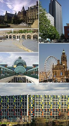 Clockwise from top left: The Sheffield Town Hall; St Paul's Tower from Arundel Gate; the Wheel of Sheffield; Sheffield station and Sheaf Square. Park Hill at the bottom. Sheffield Town Hall, Sheffield Pubs, Sheffield Steel, South Yorkshire, Yorkshire England, Northern England, Cities In Europe, Peak District