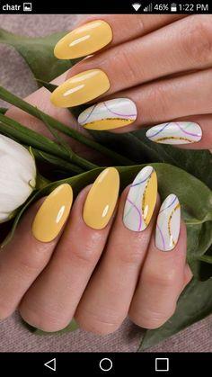 Chic Nails, Classy Nails, Stylish Nails, Trendy Nails, Oval Nails, Gold Nails, Yellow Nails, Pink Nails, Elegant Nail Art