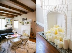 Exposed beams and candles in the fireplace. Chic Peek: Cupcakes and Cashmere's Emily Schuman Invites Us Into Her Home