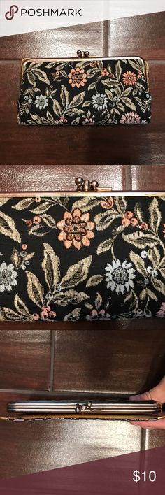 """Vintage floral wallet Beautifully worn vintage floral clothe wallet. 6"""" by 3"""". Not for someone who has a lot in their wallet. Bags Wallets"""