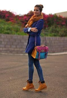 abrigo azul y timberland