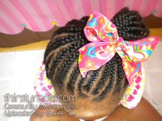 African American Girl Braids with Bow