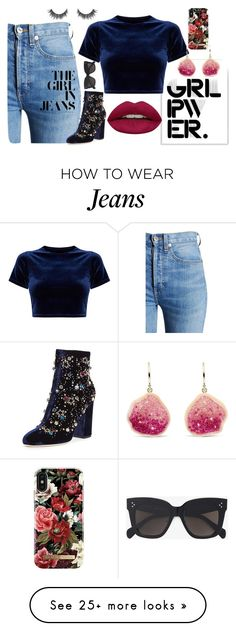 """""""The Girl in Jeans"""" by rlparrish on Polyvore featuring Stupell, RE/DONE, Huda Beauty, GEDEBE, CÉLINE, iDeal of Sweden, girlpower and powerlook"""