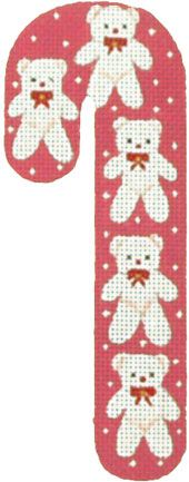 Melissa Shirley Designs | Hand Painted Needlepoint | Teddy Bear Candy Cane